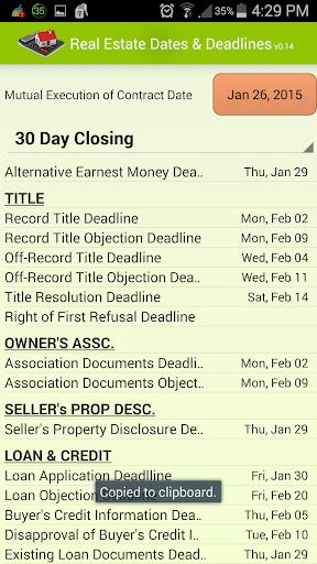 Real Estate Dates Deadlines