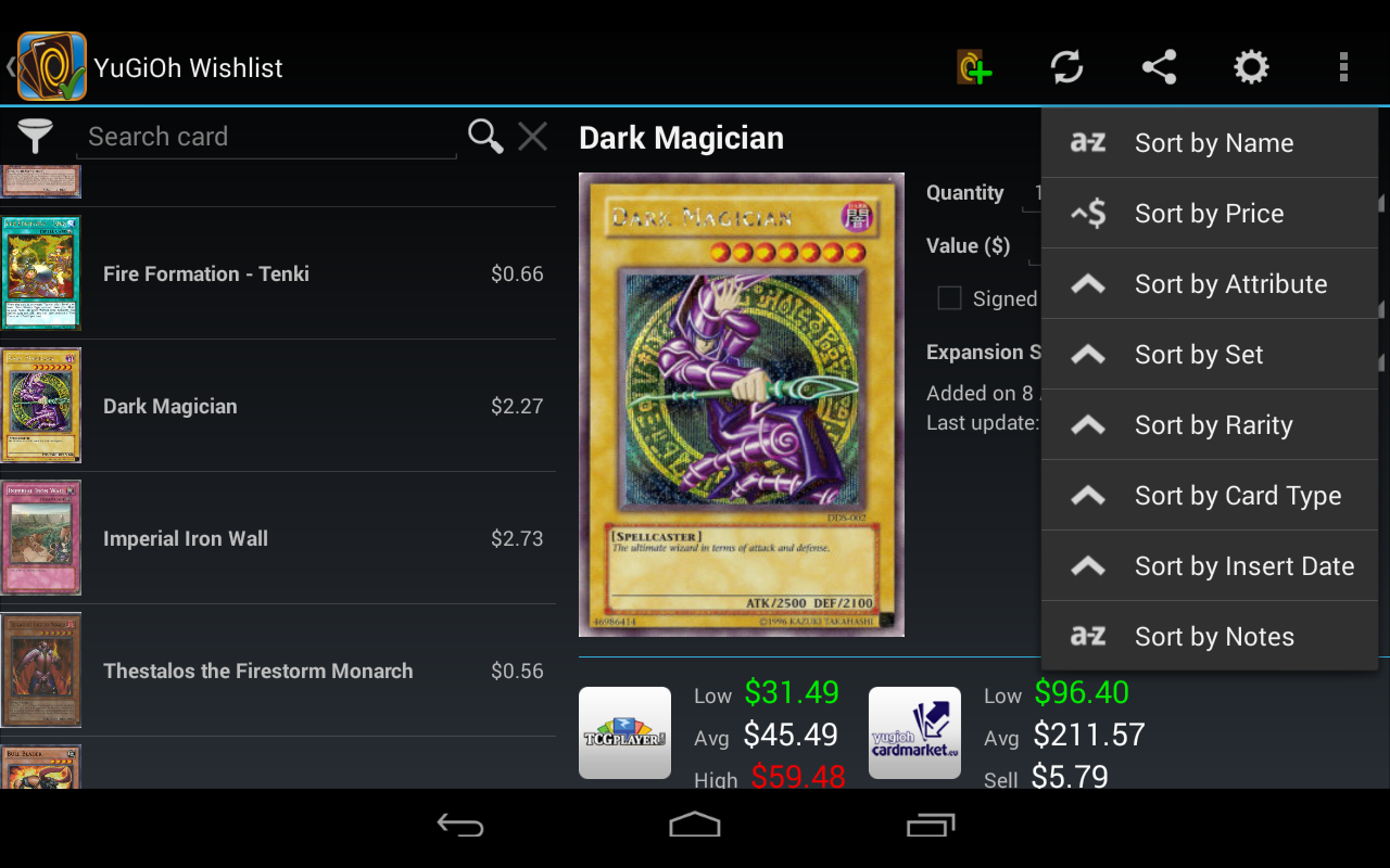 wishlist for yugioh pro android apps on google play