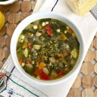 Summer Vegetable Soup with Pesto.