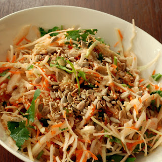 Crunchy Cabbage Salad with Orange-Tahini Dressing.