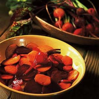 Roasted Red and Yellow Beets with Balsamic Glaze.