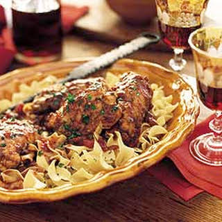 Chianti-Braised Stuffed Chicken Thighs on Egg Noodles.