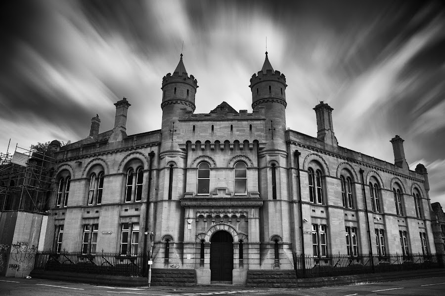 Another day at the office - but what an office! by Julian Pett - Black & White Buildings & Architecture ( building, monochrome, garrad hassan, white, castle, long exposure, dnvgl, bristol, black )