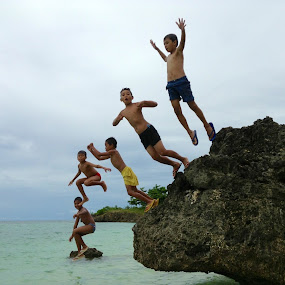 Unexpected Choreographed Jumping by Dickson   Shia - Babies & Children Children Candids ( adventure, nature, sea, kids, diving,  )