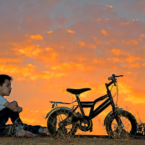 Sunset and the Bike ! by Agha Ahmed - Babies & Children Children Candids ( child, bike, sunset, childhood, bicycle )