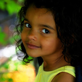 Child by the Brook by Hailey Elizabeth - Babies & Children Child Portraits ( child, 3yr, brook, bi-racial, 2014, cute, spring )
