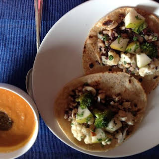 Kala Jeera Scented Tomato and Red Lentil Soup with Veggie Stuffed Rotis.