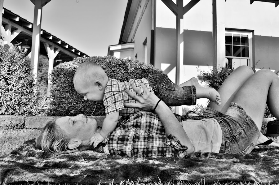 by Brittany Collins - Black & White Portraits & People ( playing, mother, woman, happy, baby )