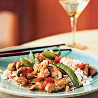 Pork and Vegetable Stir-Fry with Cashew Rice.