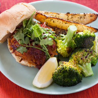 BBQ Tempeh Sandwiches with Roasted Potato Wedges & Broccoli