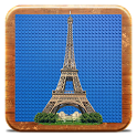 Eiffel Tower in bricks icon