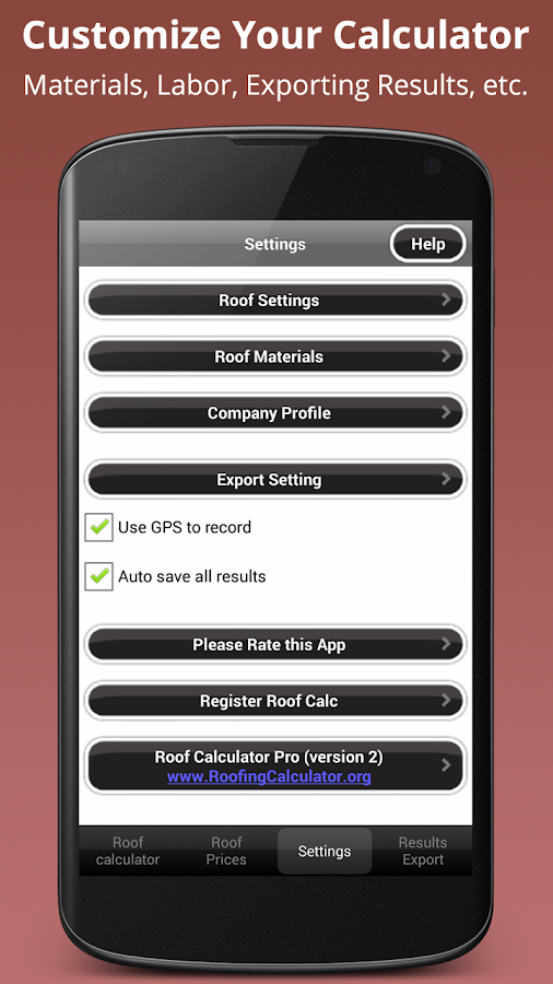 Roofing Calculator PRO - screenshot