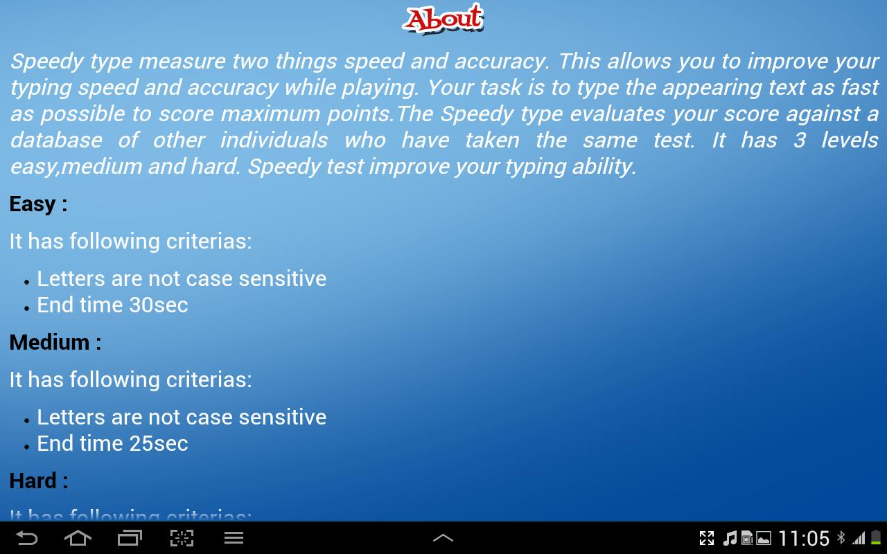 SpeedyTypeForTablets- screenshot