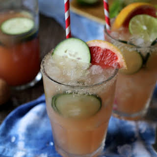 Grapefruit Margaritas with a hint of cucumber.
