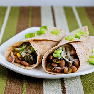 Slow Cooker Spicy Vegetarian Pinto Bean and Chard Burritos.