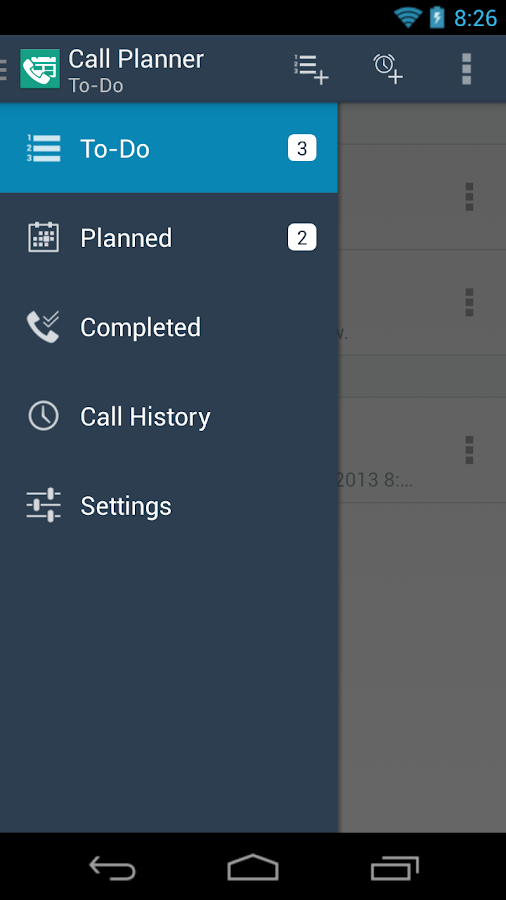 Call Planner- screenshot