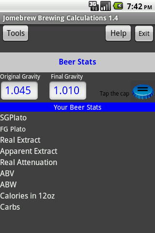 Beer Stats and Conversions- screenshot