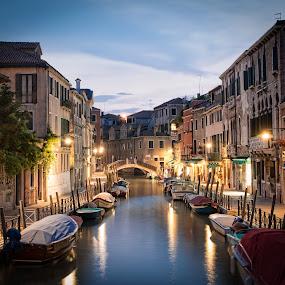 Venice by Chris Pugh - City,  Street & Park  Neighborhoods ( water, waterscape, venice, night, boat, italy )