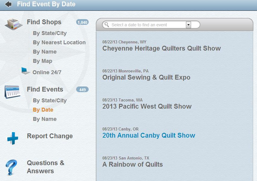 Quilt Shop Locator - screenshot