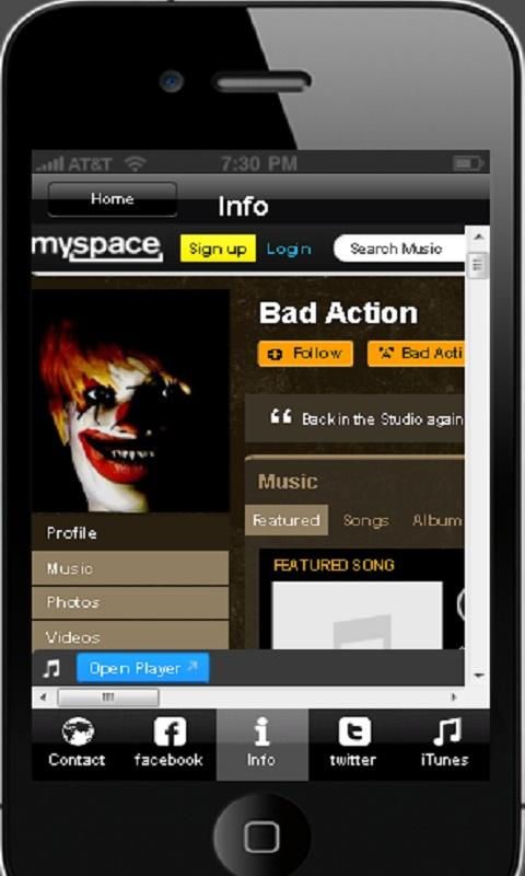 Bad Action Music App - screenshot