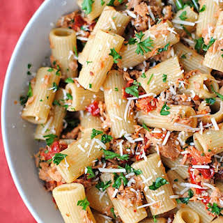 Tuna Rigatoni with Sun-Dried Tomatoes.