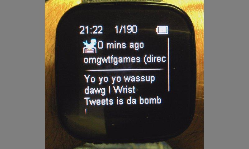 Wrist Tweets - LiveView plugin- screenshot