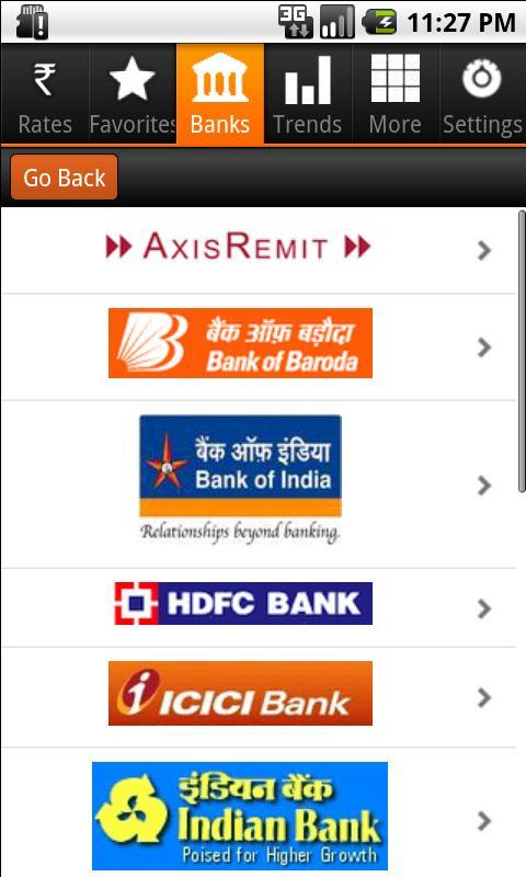 Indian Rupee Exchange Rates- screenshot