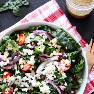 "Detoxifying Greek Salad with Kale & Cauliflower ""Feta"""