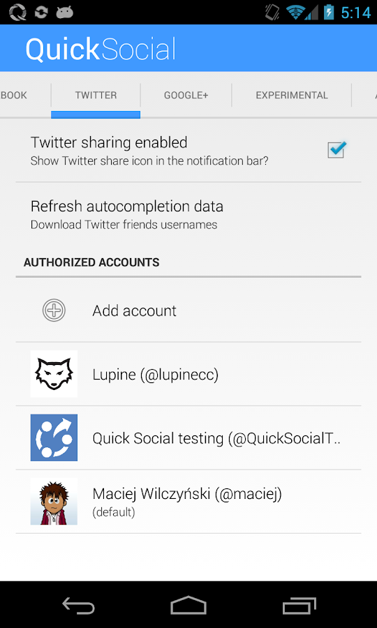 Quick Social (DEMO)- screenshot