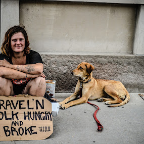 by Lisa Frisby - People Street & Candids ( homeless lady, candids, street, city life, broke, city, street life, homeless, woman, homeless dog, lady, dog, hungry, abandoned,  )