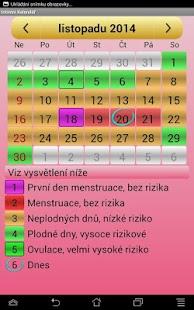 Kalendář Menstruace a Ovulace - náhled