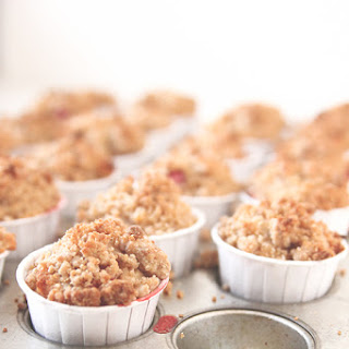 Strawberry Rhubarb Crumble Muffins.