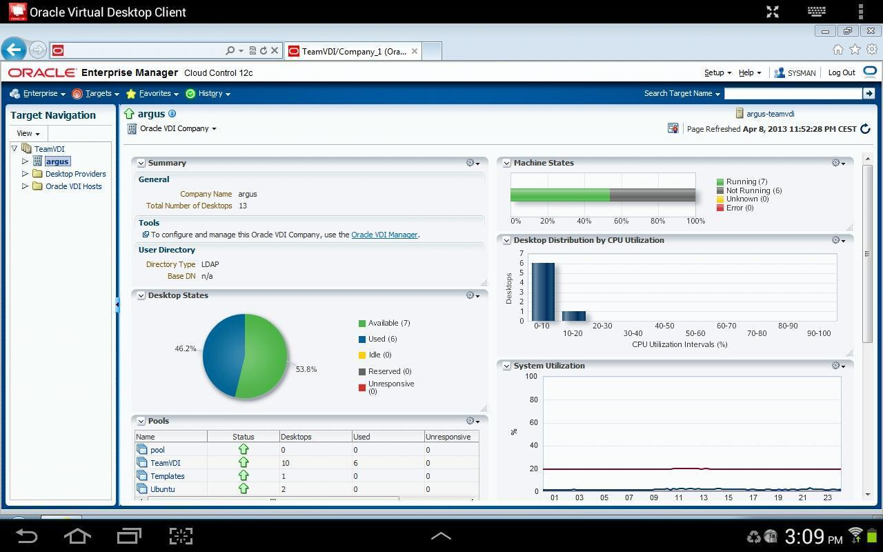 Oracle Virtual Desktop Client - screenshot