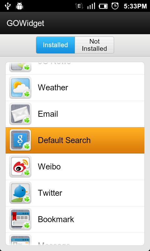 GO Default Search Widget - screenshot