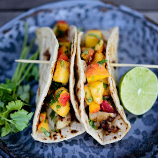 Chipotle Fish Tacos with Cilantro Peach Salsa-