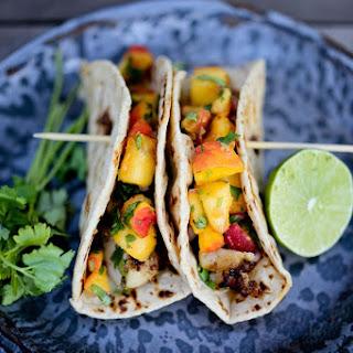 Chipotle Fish Tacos with Cilantro Peach Salsa-.