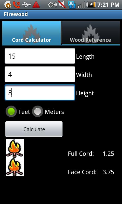 Firewood Calculator - screenshot