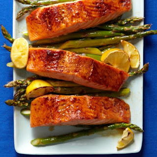 Broiled Salmon and Asparagus.