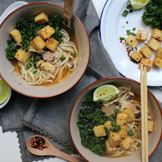 Vegan Udon Soup W/ Chili Lime Crispy Tofu