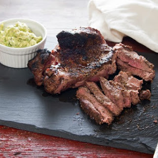 Grilled Lamb with Avocado Mint Spread