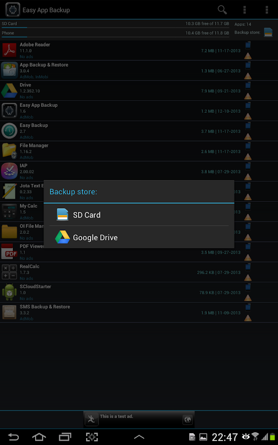 Easy App Backup & Restore - screenshot