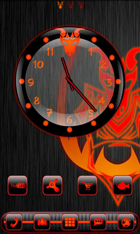 Red Dragonglow Clock Widget - screenshot