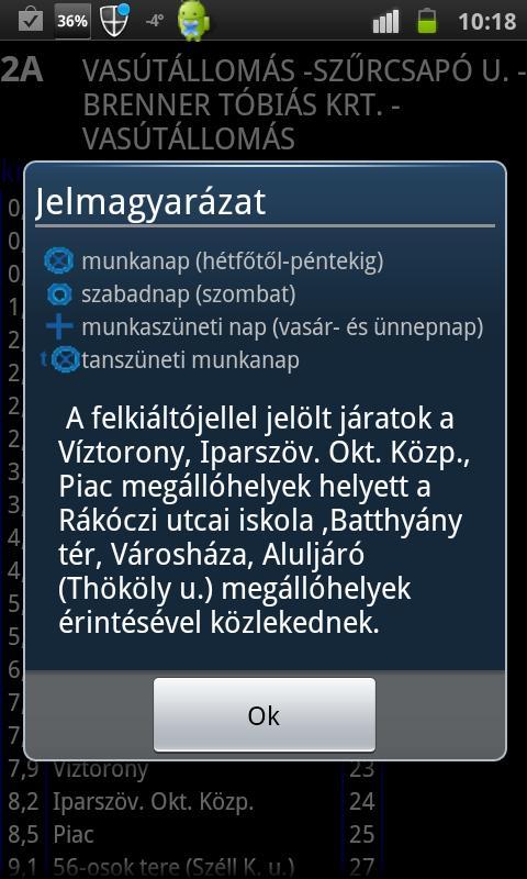 Bus schedule of Szombathely- screenshot