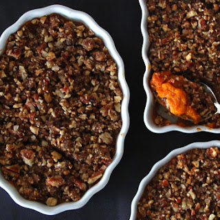 Sweet Potato Casserole with a Pecan and Gingersnap Praline Topping.