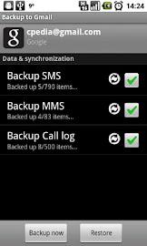 Backup to Gmail Screenshot 1