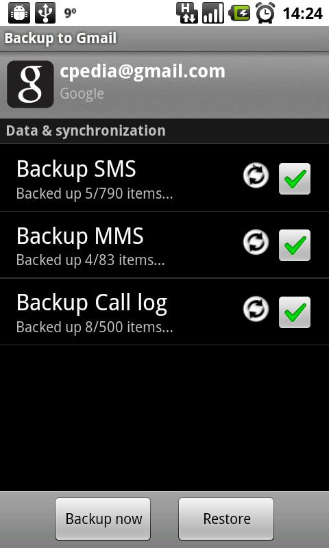 Backup to Gmail- screenshot
