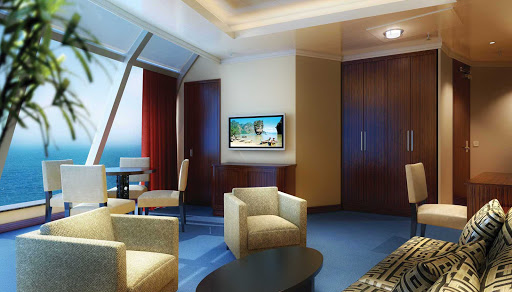 Norwegian-Star-stateroom-Deluxe-Owners-Suite - Guests checked into Norwegian Star's Deluxe Owner's Suite have floor-to-ceiling windows and impressive views.