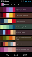 Screenshot of Color Collection, palettes