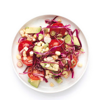 Tomato, Corn, and Red Cabbage Salad.