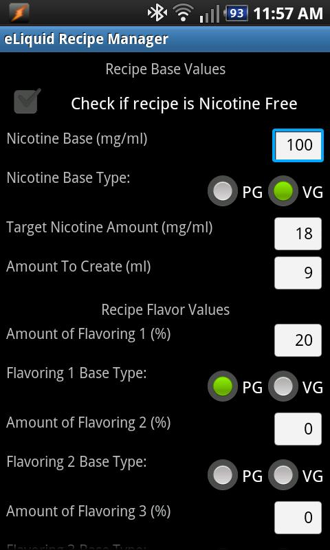eLiquid Recipe Manager Lite - screenshot
